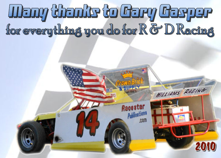 Gary Gasper thank you plaque