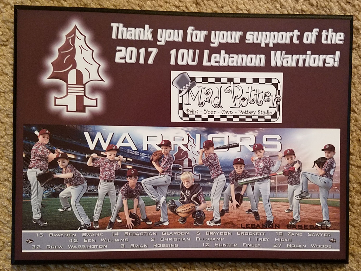 Lebanon baseball plaque sample