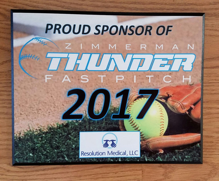softball plaque example