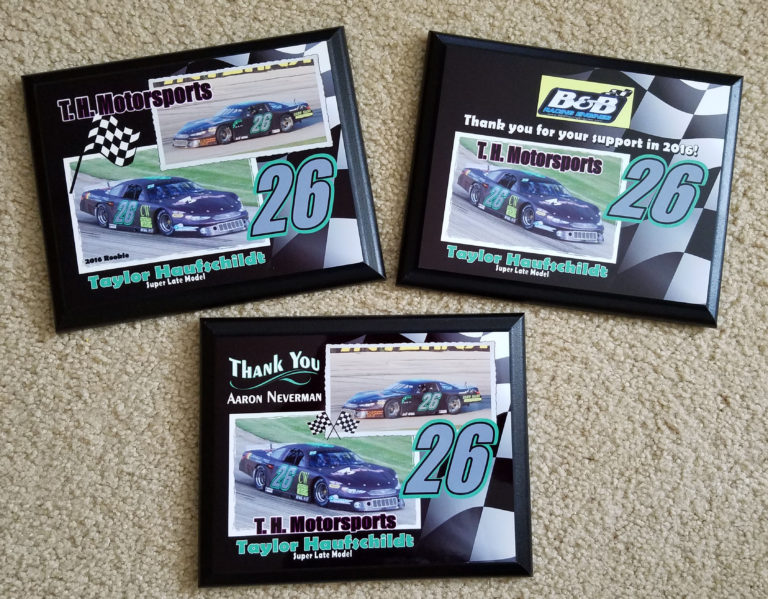 super late model plaque example
