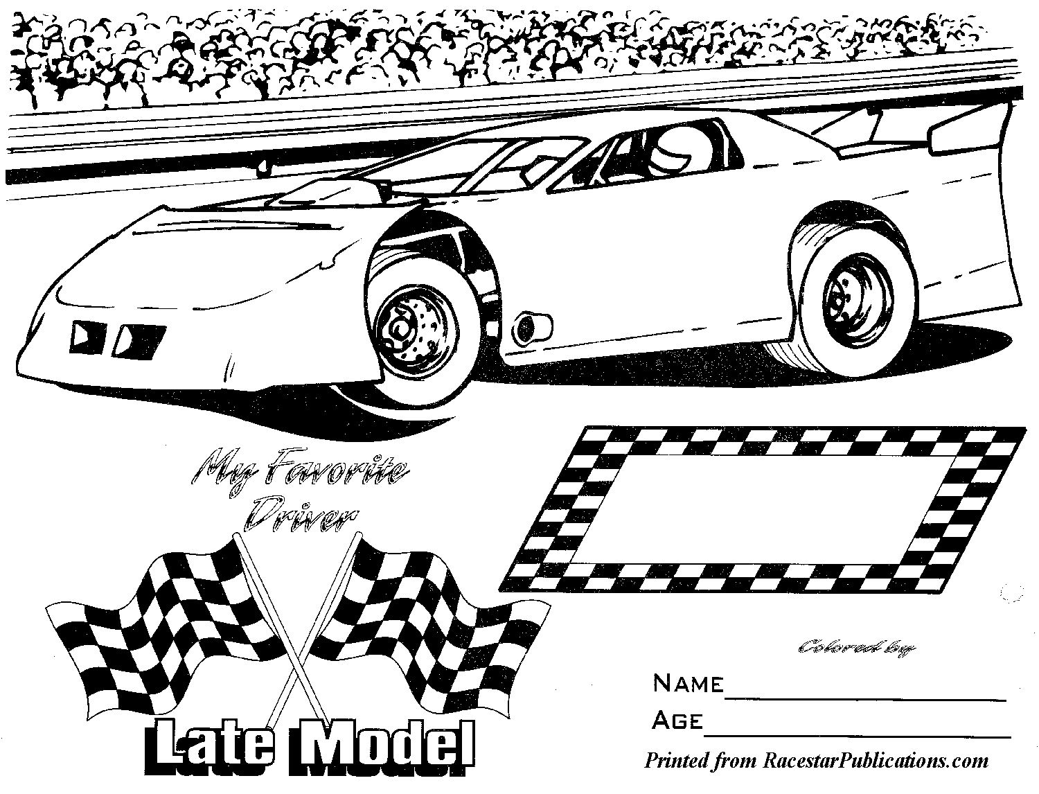 Lil Racer Coloring Page Racestar Publications Late Model Free Coloring Pages