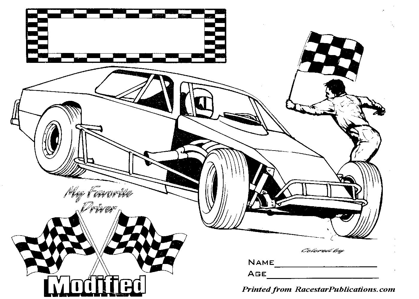 Lil\' Racer Coloring Page | RaceStar Publications