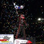 Kevin getting his shower of confetti after his feature win