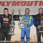 (left to right) Cody Williams earned his first feature victory at Plymouth Speedway Saturday, May 18 with a win over Garett Goodwin and Ed Cleveland in the Non-wing 600cc Micros.