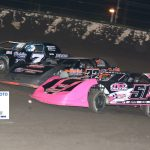 7 Steven Mattingly 32 Tommy Duncan 51A Amber Crouch go three wide in Sportsman action.
