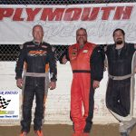 UMP Modifieds winner Jamie Lomax (L) Frank Marshall 2nd (M) and Zeke McKenzie 3rd.