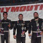 Modifieds feature finish l-r: Derek Losh winner, Ryan Cripe 3rd, Zeke McKenzie 2nd.