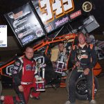 Winged Sprint Car feature finish l-r: John Gurley 2nd, Winner Eric Saunders, Jack James 3rd.