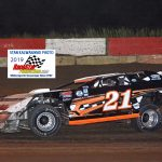 Bobby Gash (21) on his way to his first dirt track feature win - the 20-lap main event for UMP Pro Late Models.