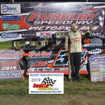 Sportsman point leader, Tommy Duncan held off Michael Ledford in the 15 lap, Sportsman race.