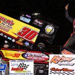 Indiana Racesaver Sprints feature winner Anton Hernandez.
