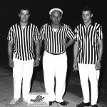 Pat Smith (right) poses with his brother Roger (left) and dad Smokey (center) at Raceway Park in 1969.