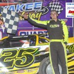 Dakota Ewing was a first-time winner at Kankakee as he won the 20-lap feature race for UMP Pro Late Models.