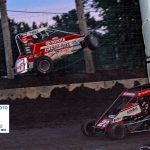 Presley Truedson flips on opening lap of feature