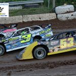3 Brian Shirley splits the cars of 53 Hillard Miller and 3 Scott Wenell