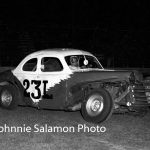 Ray Young behind the wheel of his first stock car – a 1941 Ford No. 23L.  (Johnnie Salamon Photo)
