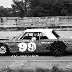 Ray Young wheels his Ford Fairlane at Indiana's Illiana Motor Speedway in 1966.  (Gene Crucean Photo)