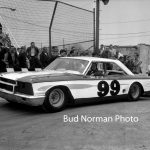 "Ray Young and another winning Ford at Raceway Park in 1964.  Young used this '63 ½ Ford to win all four feature races one night during a ""Monza Classic"" at the ""World's Busiest Track."""