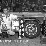 Ray Young poses in victory circle after winning Illiana's Tony Bettenhausen 100 in 1976.  (Stan Kalwasinski Photo)