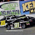 Bubba Pollard (#26) and Ty Majeski (#91) battle during last year's 200-lap race.  (Kim Kemperman photo)
