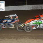 In the closing laps, Chris Windom (#5) feels the pressure from Brady Bacon (#69).