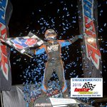 As the confetti flies, Illinois' Chris Windom celebrates his AMSOIL USAC National Championship sprint car victory during the NOS Energy Drink Indiana Sprint Week event at Indiana's Kokomo Speedway Saturday night.