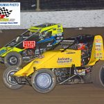 Josh Hodges (#74) and Chase Stockon (#32) battle during the semi feature.