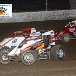 Thomas Meseraull (#71), Shane Cottle (#2) and Jarett Andretti (#18) look for racing room during the 30-lap chase.