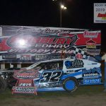 Mason Duncan (left) with his father, the 2019 Fairbury Sportsman track champion, Tommy Duncan