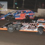 These two titans staged an epic race thru out their feature until Allen Weisser 25W cut a tire with two laps to go. Weisser slowed to a 13th place finish, but took over the point lead. Mike McKinney 96M registered his fourth FALS Cup win of the year.