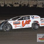 Working the bugs out of her new ride, Valerie Hurt finished sixth in the Sportsman race.