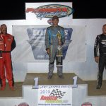 Modified podium Mike McKinney winner, Frank Marshall 2nd, Dylan Woodling 3rd.