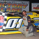 Greg Cantrell Jr. was the winner of the super late model division feature race at Illinois' Sycamore Speedway Saturday during Kane County Champoionship night.