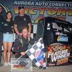 Young Jack Routson won the 25-lap feature race for Badger Midget Auto Racing Association midgets. Routson was joined in victory lane by his mechanic Dylan Tedzloff, girlfriend Maddie Hill and his dad, Tim.