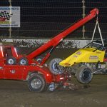 """Josh Hodges' No 74 is """"on the hook"""" after Hodges flipped during the feature race."""