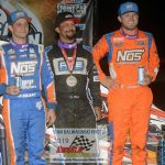 """The """"top three"""" Thursday night were (left to right): third place finisher Justin Grant, winner Thomas Messeraull and runner-up Tyler Courtney."""