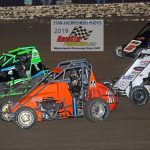 Close midget action during one of the heat races.