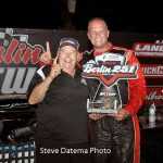 Boris Jurkovic poses with track owner Don DeWitt after Jurkovic captured the Battle at Berlin 251 at Michigan's Berlin Raceway in August.  (Steve Datema Photo)