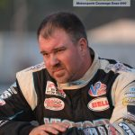 "Driving the last 70 laps without powere steering, Georgia's Jonathan Davenport took the lead for good with 33 laps remaining to win his third ""Globe"" during the 49th annual World 100."