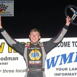 High school senior Cameron Shidler won his ninth I-Mod division feature race of the year.