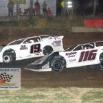 Torin Mettille (#116) and JOsh Knebel (#19) battle during the early laps of the late model feature.