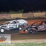 Nick Allen (#21) and Jamie Lomax (#36) battle after a restart during the final laps of the modified feature.