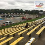 During most of the day, track crews worked hard in an attempt to dry out the LaCrosse Fairgrounds Speedway for Saturday night's racing action – part of the 50th annual Oktoberfest Race Weekend.  With constant rain falling, race officials have been forced to reschedule most of the racing for tomorrow (Sunday).