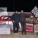 Thunder Car feature winner Jason Fritz (left) with Robert Button (right)