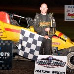 Tyler Hewitt winner of the sprint feature  On Open Wheel Saturday at the Fall Festival of Speed.