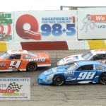 Tim Lampman (#9) has Ty Majeski (#91) on his bumper as RJ Braun (#98) stays in the bottom groove.