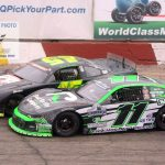 Battling for second place, Alex Prunty (#11) races inside of Rich Bickle Jr. (#45).