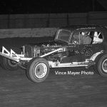 Johnnie Reimer wheeling Fred Nielsen's No. A3 on the dirt at  Illinois' Waukegan Speedway in the 1960s.  (Vince Mayer Photo)