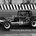 Johnnie Reimer and his No. A3 on the pavement at Chicagoland's Raceway Park.  (Stan Kalwasinski Photo)