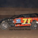 Bill Davis on the gas at Shadyhill Speedway in 2014.  (Stan Kalwasinski Photo)